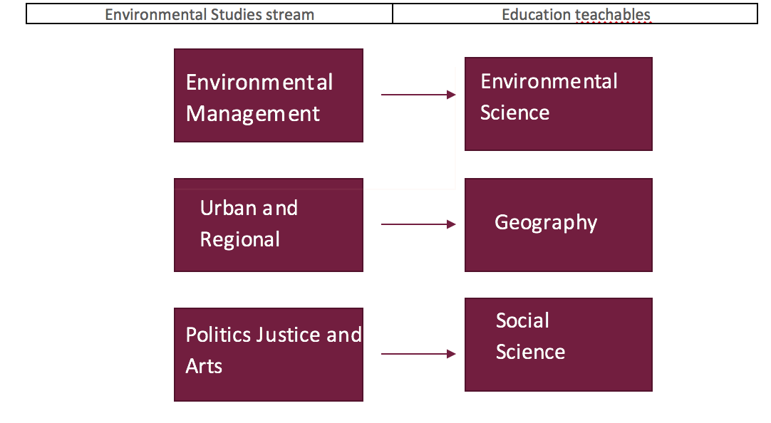 This is a infographic explaining the different teachables a student in Environmental Studies can achieve,