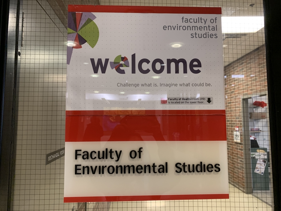 A welcome sign for Environmental Studies